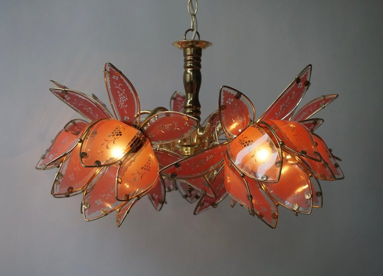Italian Brass Chandelier with Murano Glass Flowers For Sale 6
