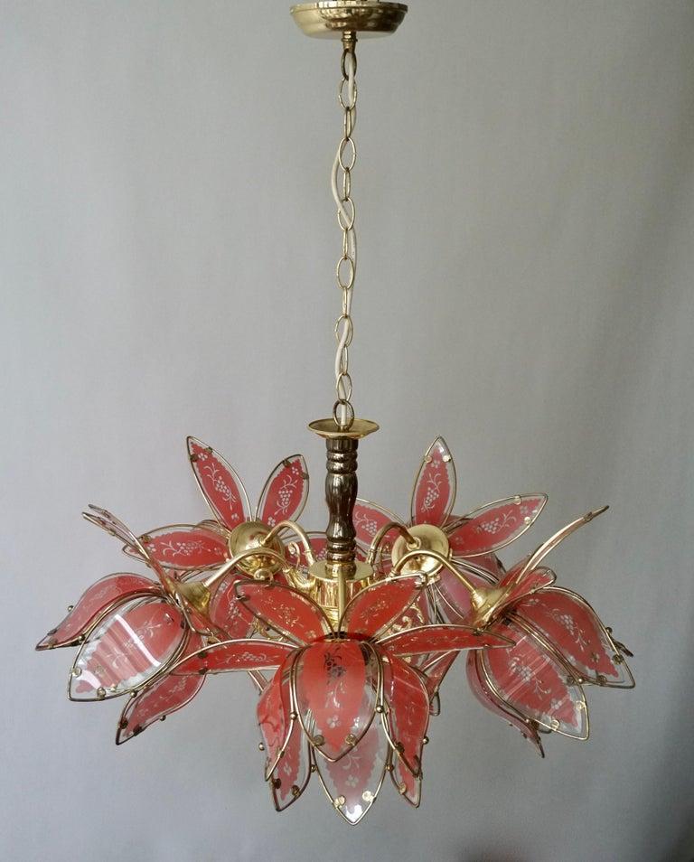 Italian Brass Chandelier with Murano Glass Flowers For Sale 7