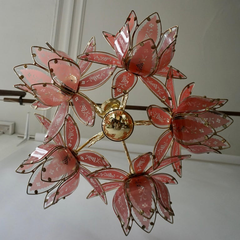 Italian Brass Chandelier with Murano Glass Flowers For Sale 8