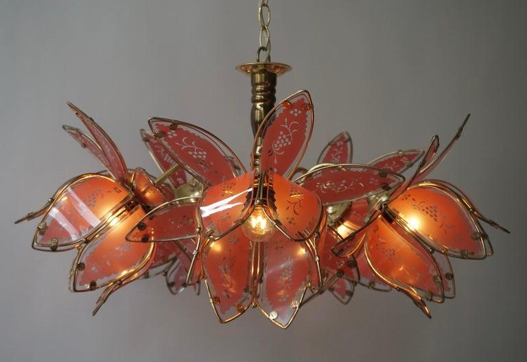 Italian Brass Chandelier with Murano Glass Flowers For Sale 9