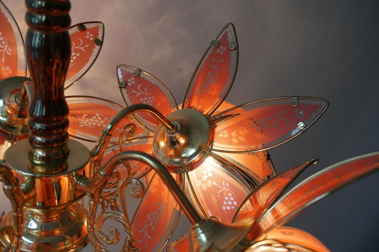 Italian Brass Chandelier with Murano Glass Flowers For Sale 11