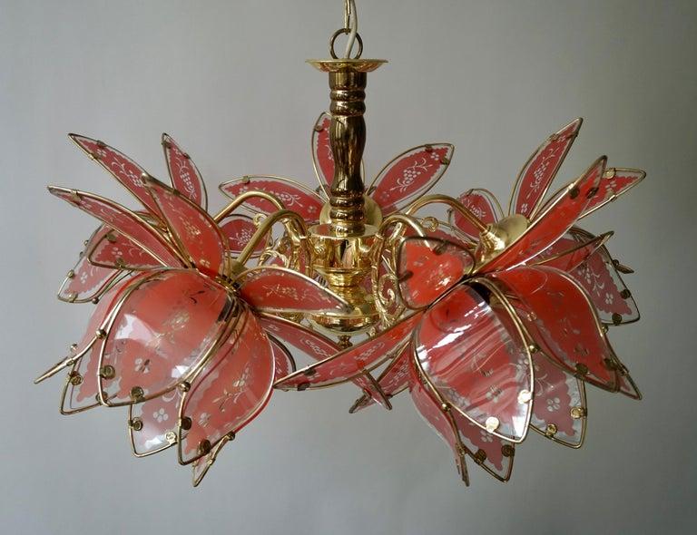 Hollywood Regency Italian Brass Chandelier with Murano Glass Flowers For Sale