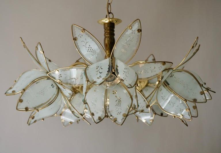 Italian Brass Chandelier with Murano Glass Flowers For Sale 1