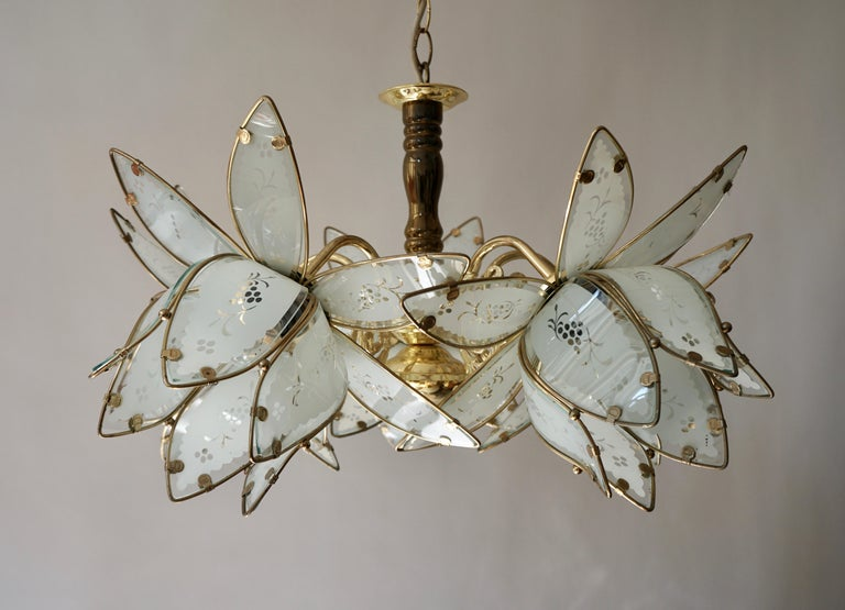 Italian Brass Chandelier with Murano Glass Flowers For Sale 2