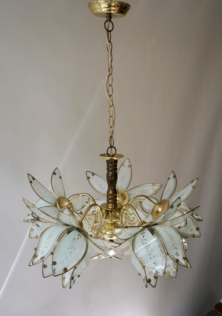 Italian Brass Chandelier with Murano Glass Flowers For Sale 3