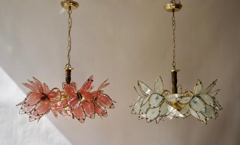 Italian Brass Chandelier with Murano Glass Flowers For Sale 4