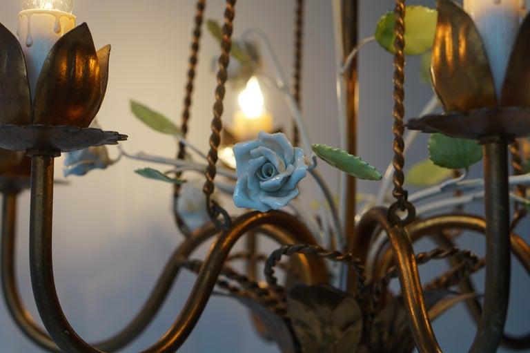 Italian Brass Chandelier with Porcelain Flowers For Sale 5
