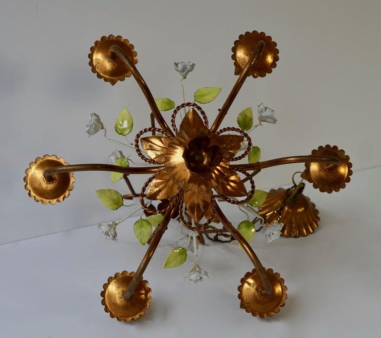 Italian Brass Chandelier with Porcelain Flowers For Sale 7