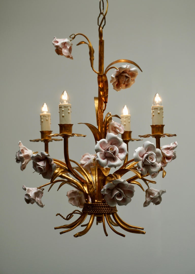 Gilt Italian Brass Chandelier with Porcelain Flowers For Sale