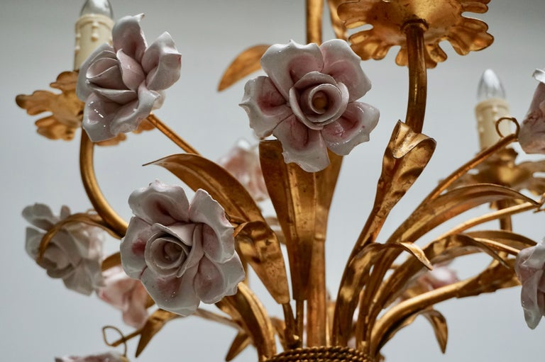 20th Century Italian Brass Chandelier with Porcelain Flowers For Sale