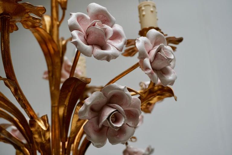 Italian Brass Chandelier with Porcelain Flowers For Sale 1