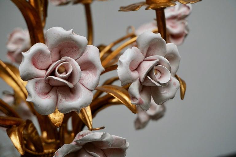 Italian Brass Chandelier with Porcelain Flowers For Sale 2
