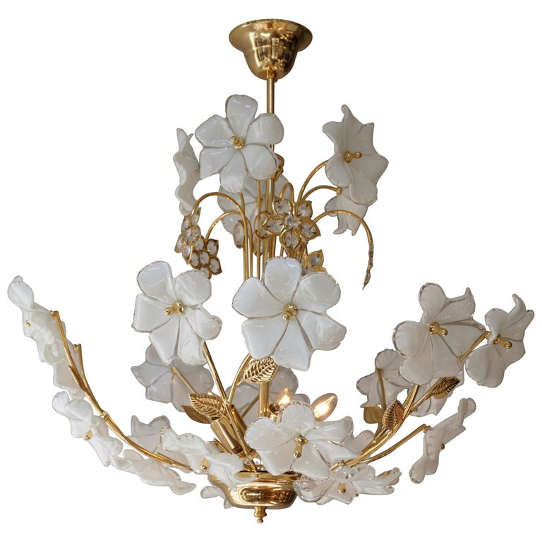 Italian Brass Chandelier with White Murano Glass and Crystal Flowers For Sale