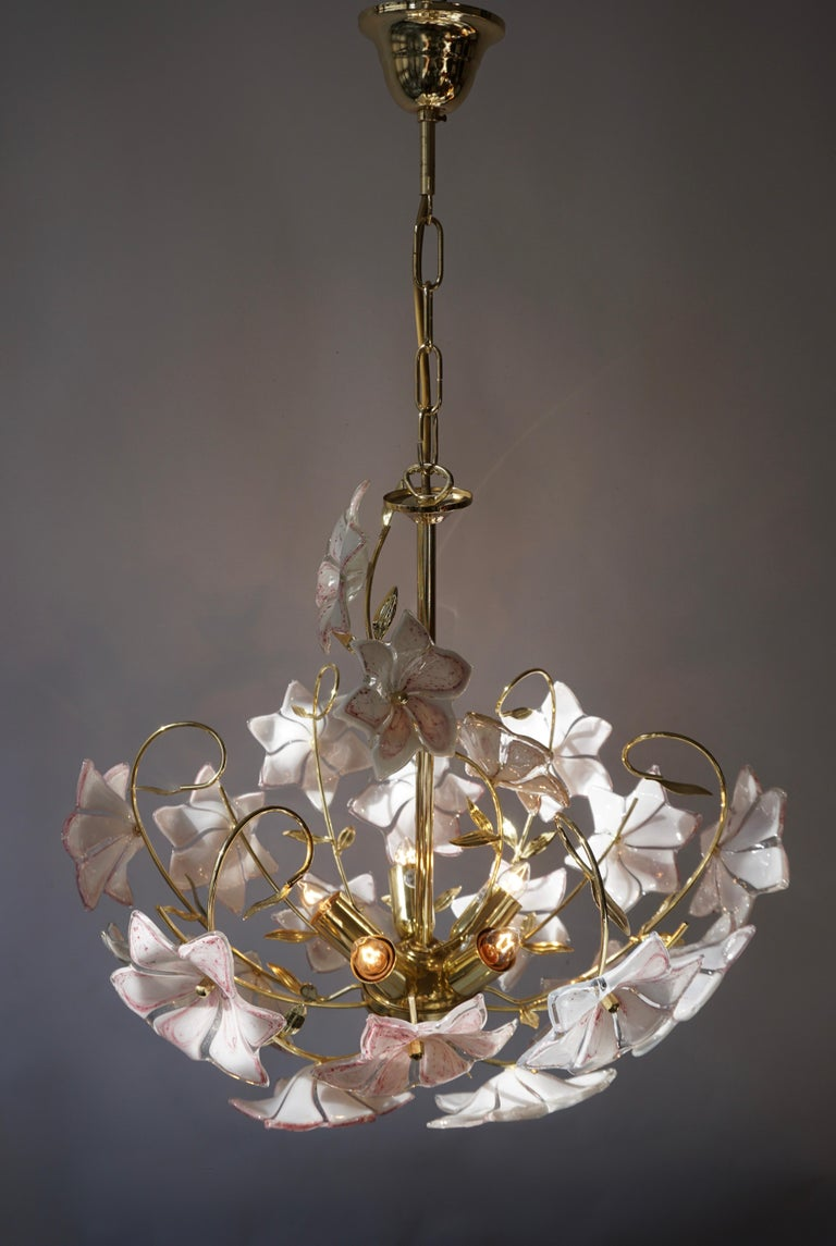 Italian Brass Chandelier with White Pink Colored Murano Glass Flowers For Sale 5