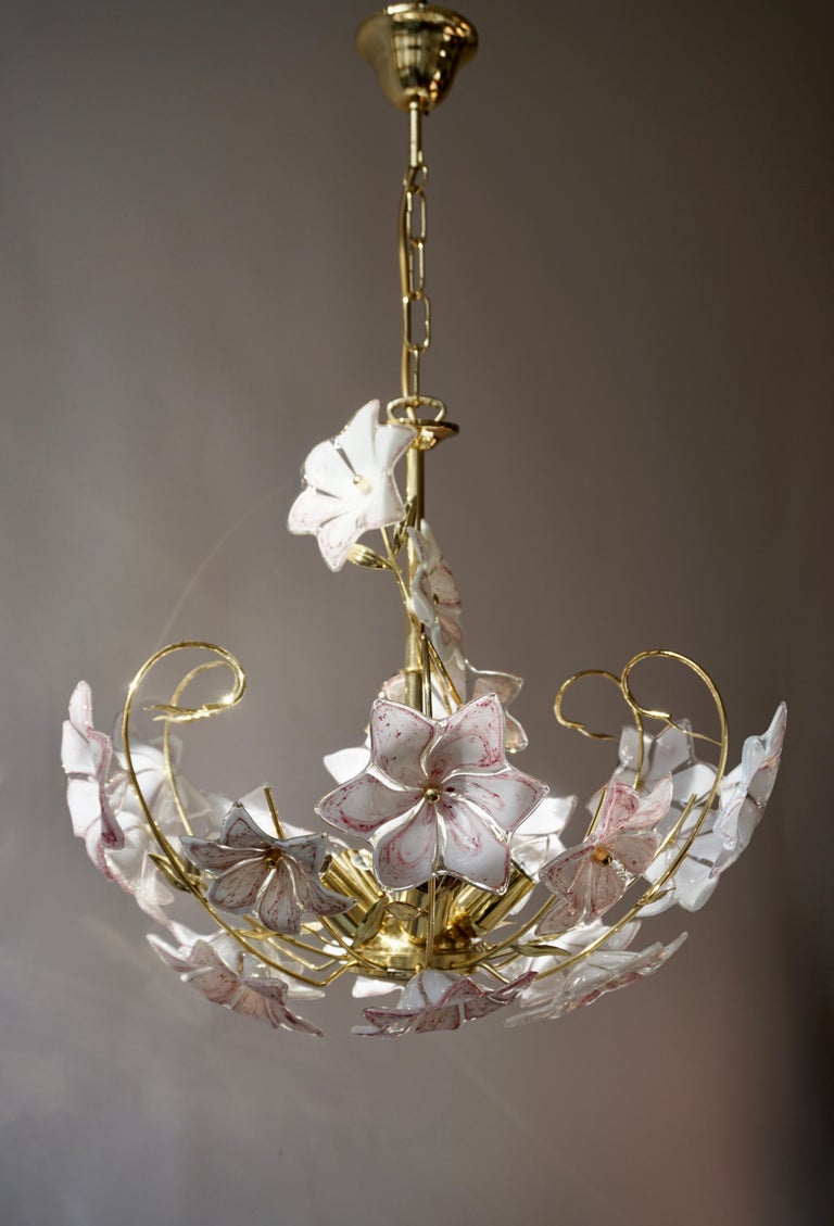 Italian Brass Chandelier with White Pink Colored Murano Glass Flowers For Sale 6