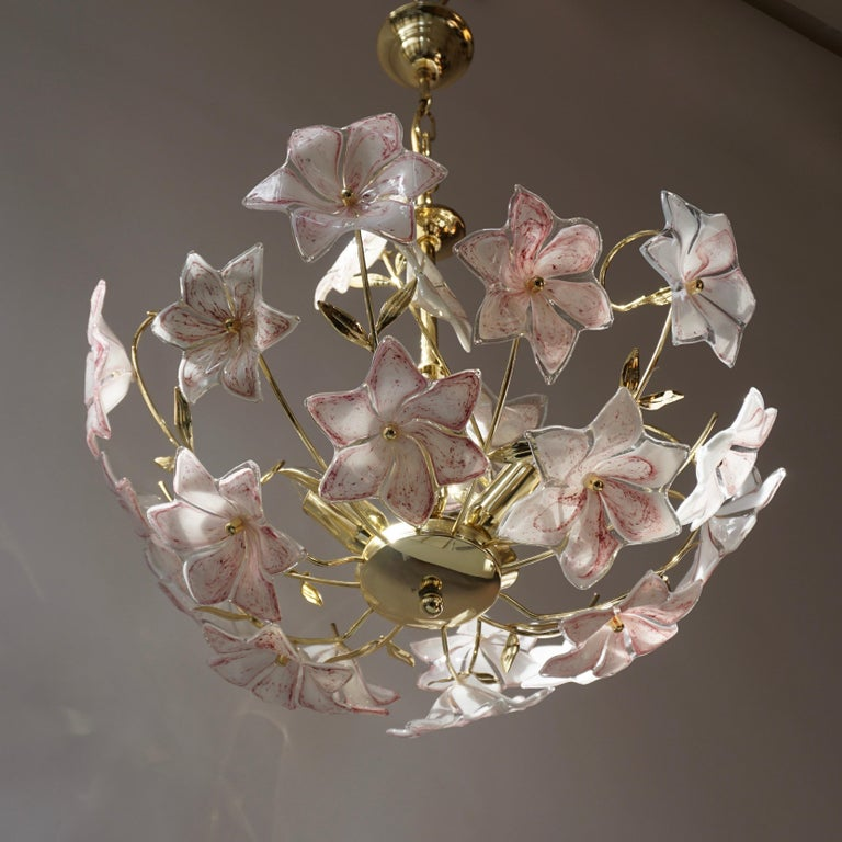 Italian Brass Chandelier with White Pink Colored Murano Glass Flowers For Sale 7