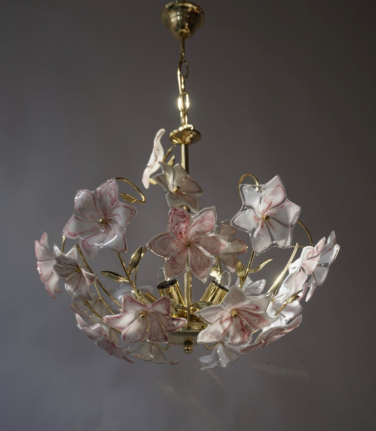 Italian Brass Chandelier with White Pink Colored Murano Glass Flowers For Sale 9
