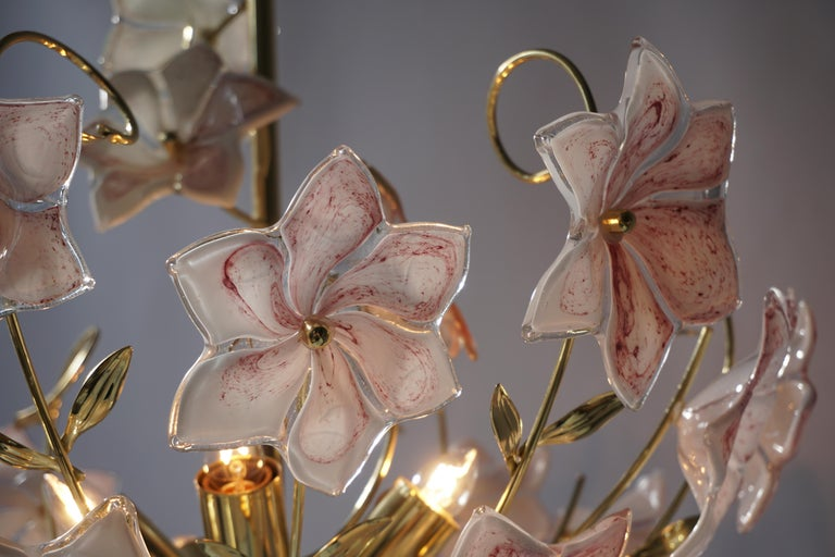 Italian Brass Chandelier with White Pink Colored Murano Glass Flowers For Sale 10