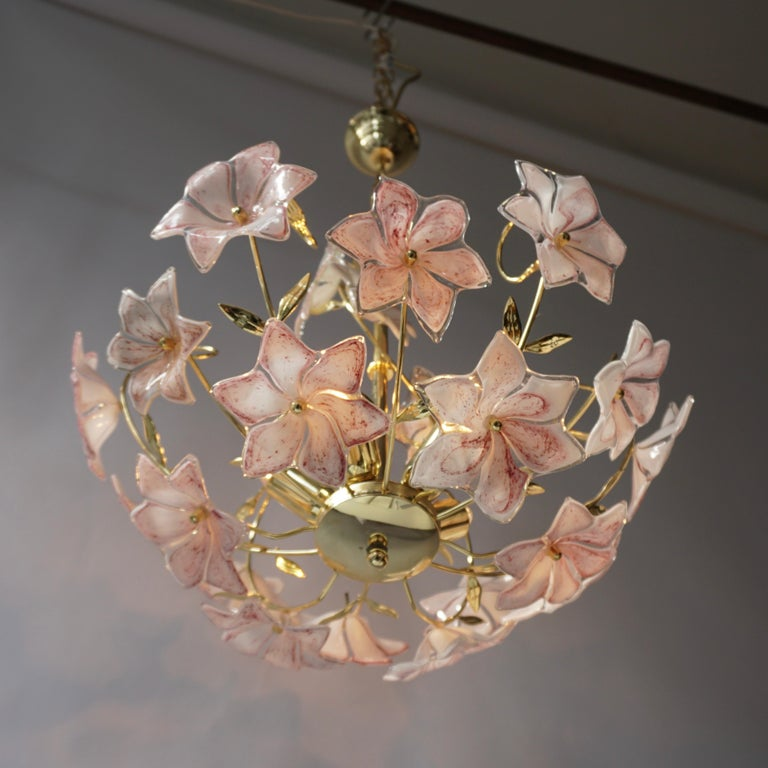 20th Century Italian Brass Chandelier with White Pink Colored Murano Glass Flowers For Sale