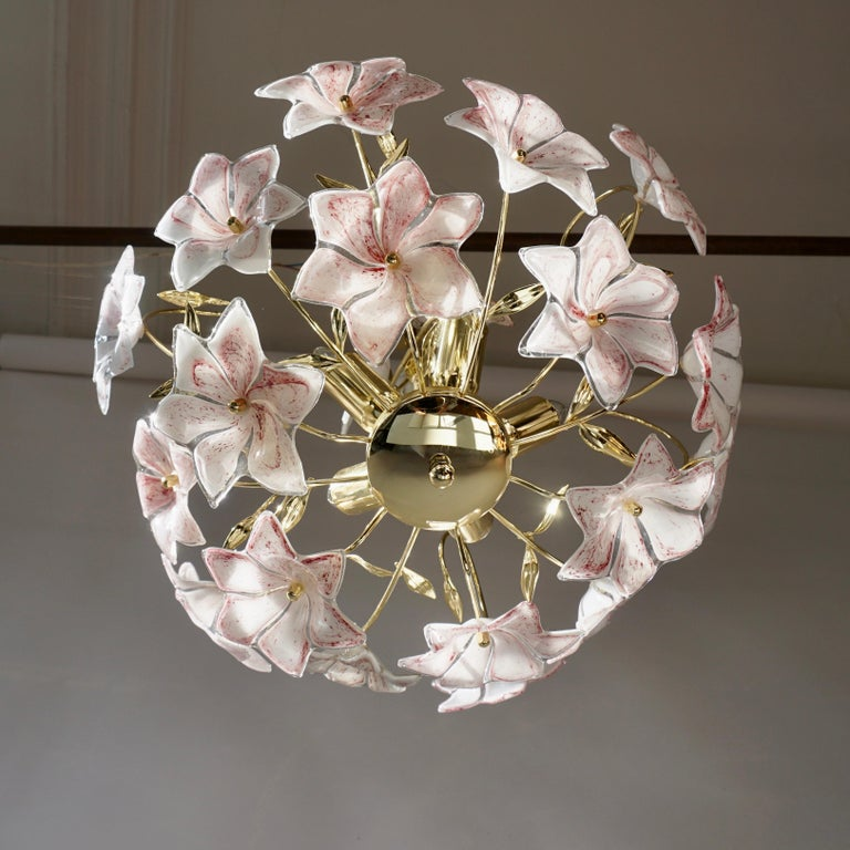 Italian Brass Chandelier with White Pink Colored Murano Glass Flowers For Sale 1