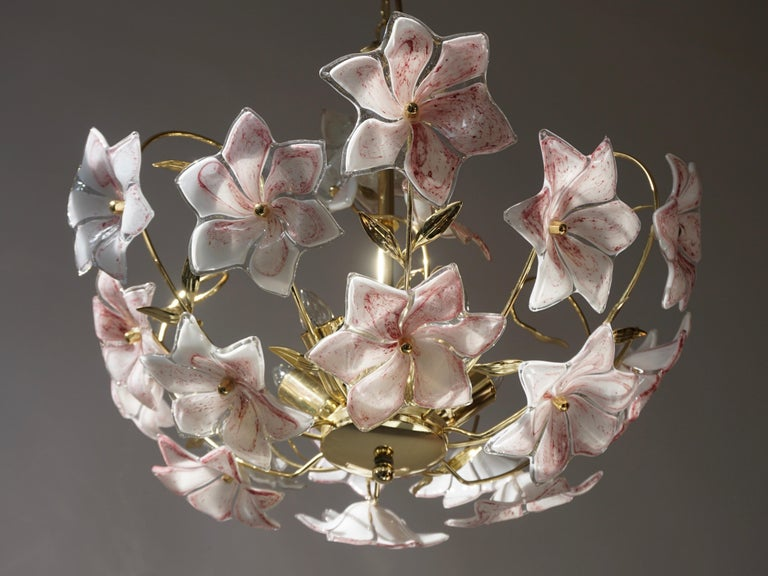 Italian Brass Chandelier with White Pink Colored Murano Glass Flowers For Sale 2