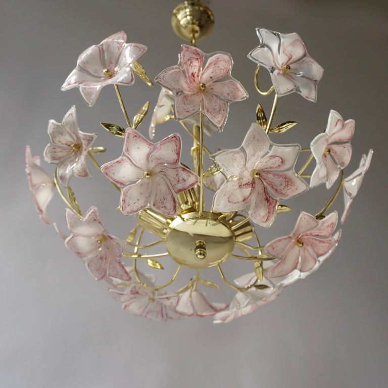 Italian Brass Chandelier with White Pink Colored Murano Glass Flowers For Sale 3