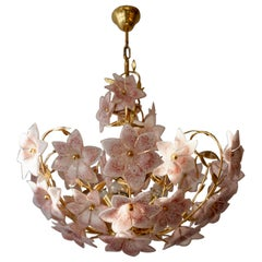 Italian Brass Chandelier with White Pink Colored Murano Glass Flowers