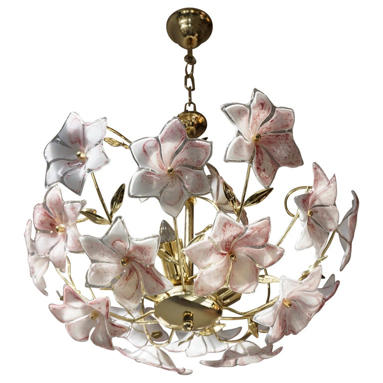 Italian Brass Chandelier with White Pink Colored Murano Glass Flowers For Sale