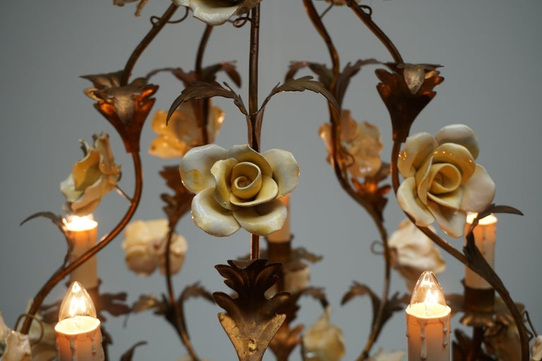 Italian Brass Chandelier with Yellow Porcelain Flowers For Sale 5