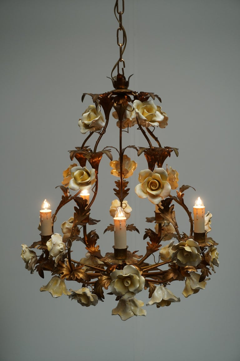 Italian Brass Chandelier with Yellow Porcelain Flowers For Sale 7