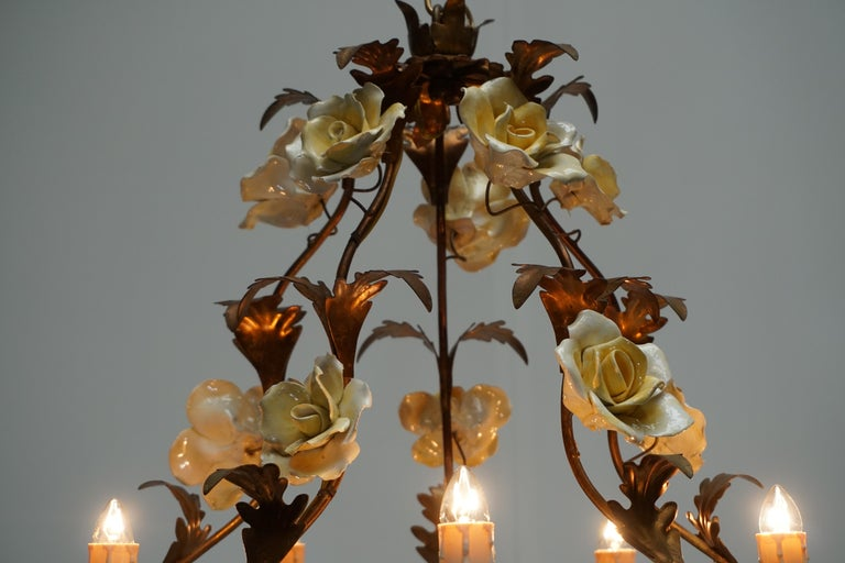 Italian Brass Chandelier with Yellow Porcelain Flowers For Sale 9