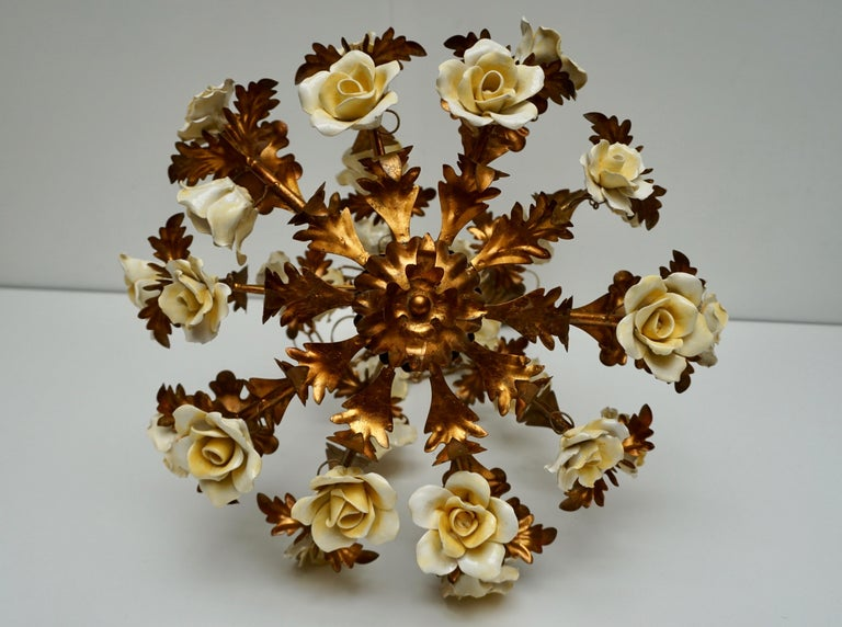 Hollywood Regency Italian Brass Chandelier with Yellow Porcelain Flowers For Sale