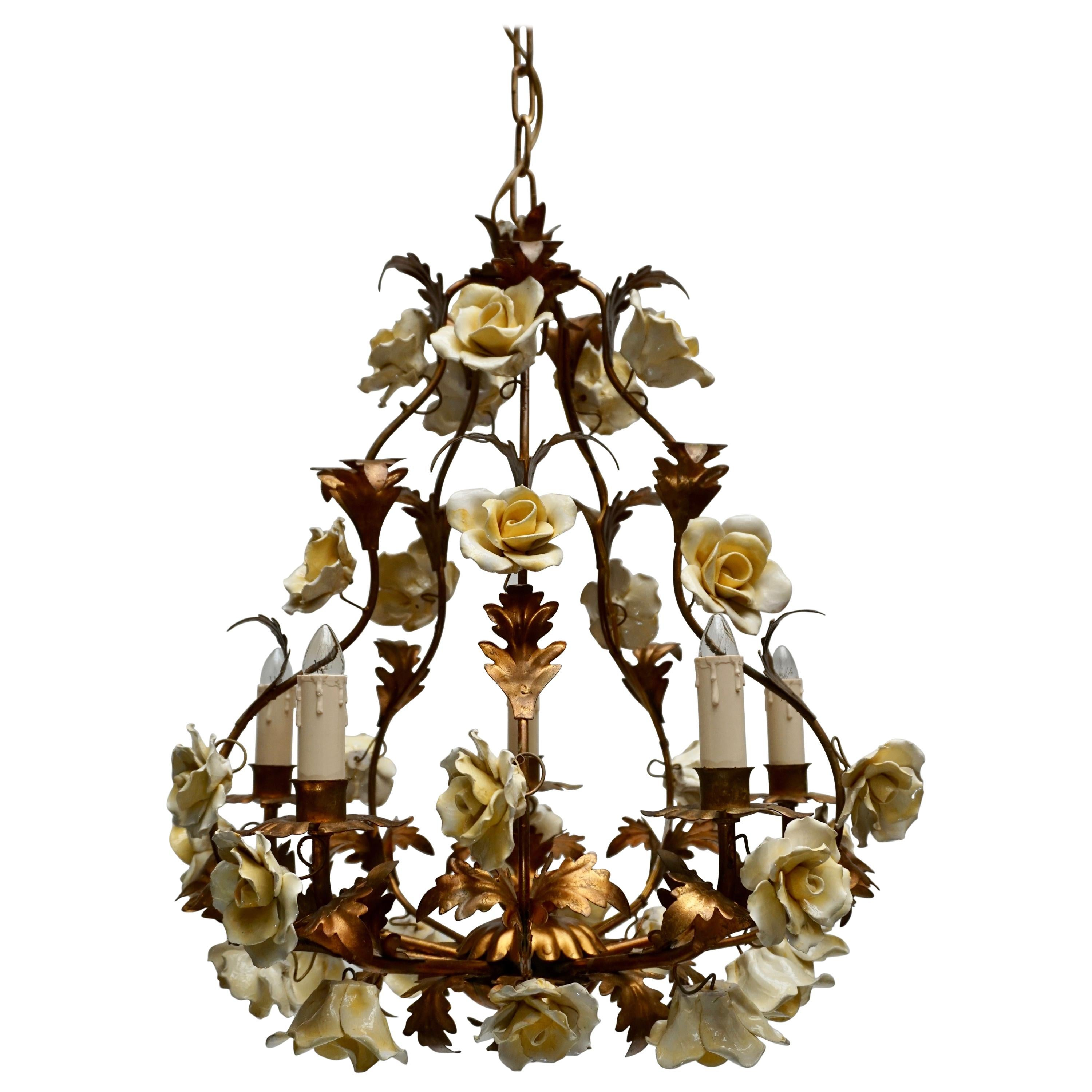 Italian Brass Tole Chandelier with Yellow Porcelain Flowers