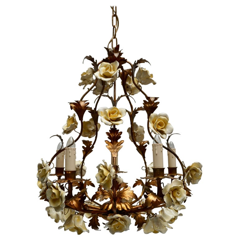 Italian Brass Chandelier with Yellow Porcelain Flowers For Sale