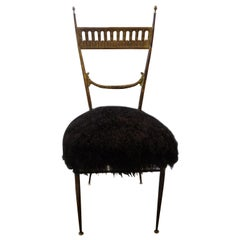 Italian Brass Chiavari Chair Upholstered in Black Mongolian Lambs Wool