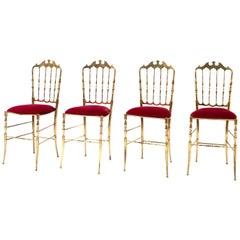 Italian Brass Chiavari Chairs, Set of 4, 1960s