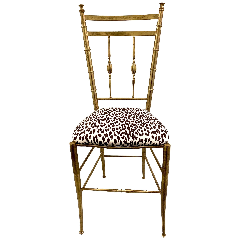 Italian Brass Chiavari Vanity or Side Chair
