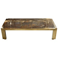 Italian Brass Coffee Table with Fossil Marble