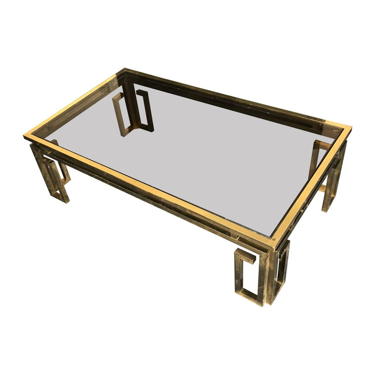 Italian Brass Coffee Table with Smoked Glass Top For Sale 5