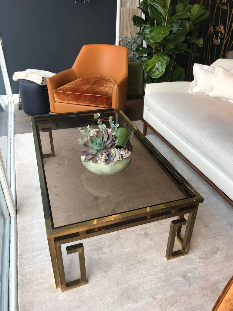 Mid-Century Modern Italian Brass Coffee Table with Smoked Glass Top For Sale