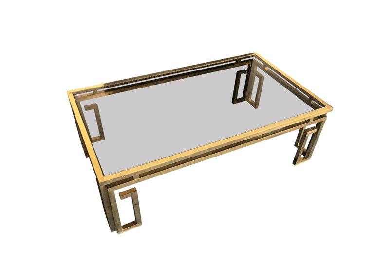 Italian Brass Coffee Table with Smoked Glass Top In Good Condition For Sale In London, GB