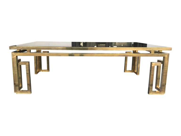 Late 20th Century Italian Brass Coffee Table with Smoked Glass Top For Sale
