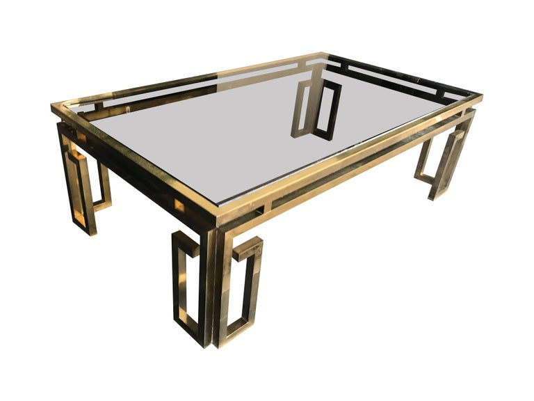 Italian Brass Coffee Table with Smoked Glass Top For Sale 1