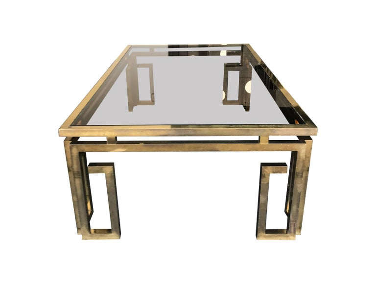 Italian Brass Coffee Table with Smoked Glass Top For Sale 3