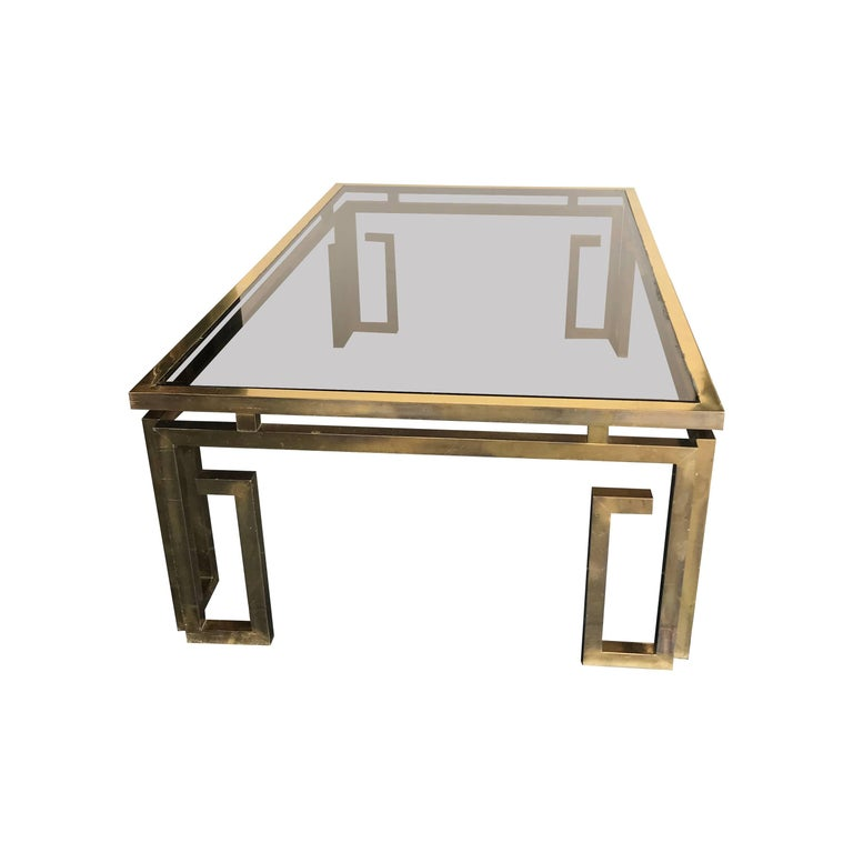 Italian Brass Coffee Table with Smoked Glass Top For Sale 4