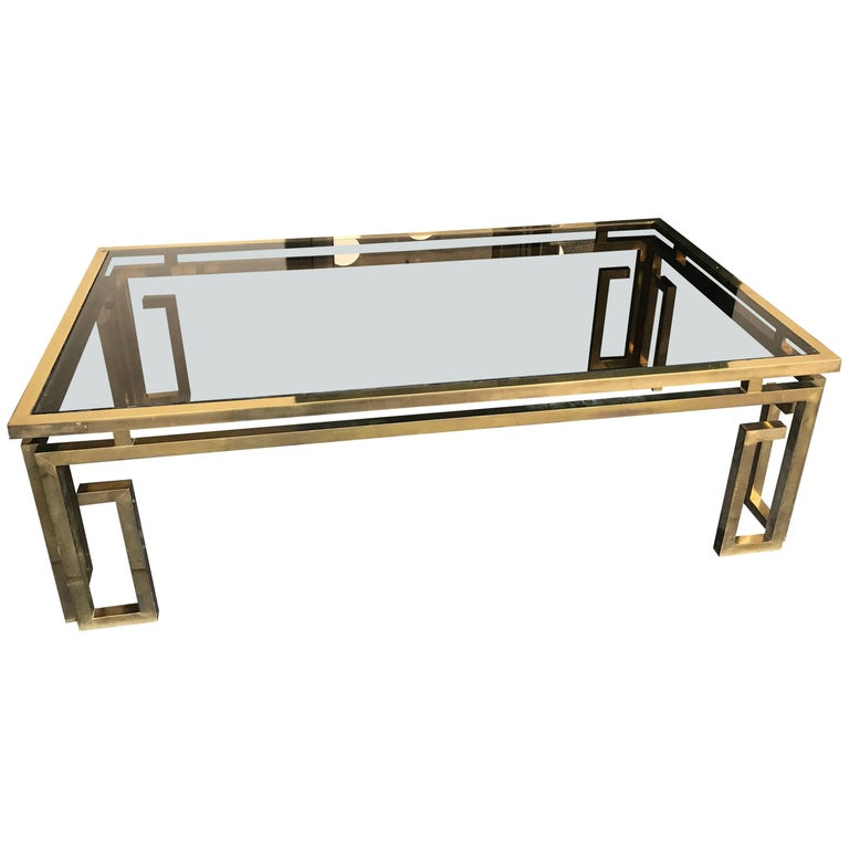 Italian Brass Coffee Table with Smoked Glass Top For Sale