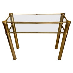 Italian Brass Console with Double Crystal Shelves, 1970