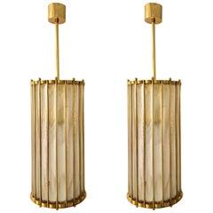 Italian Brass Crystal Murano Glass Customizable Pendant / Chandelier