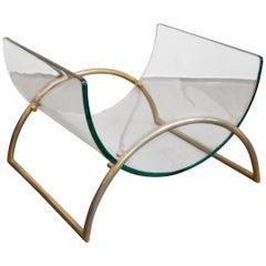 Italian Brass Curved-Glass Mid-Century Modern Magazine Rack by Gallotti & Radice