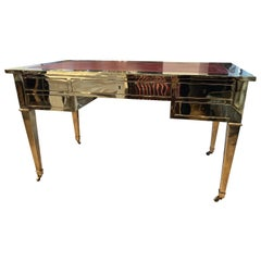 Italian Brass Desk with Leather Top